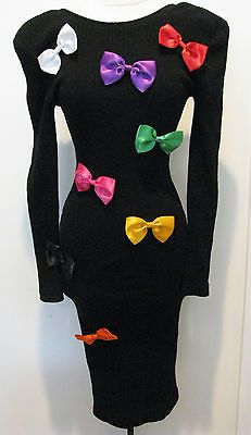 Patrick Kelly Vintage 80 S Black Dress With Colorful Bows