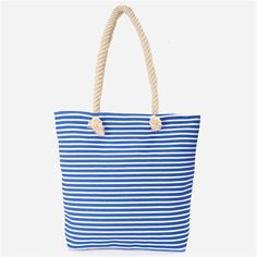 Women Casual Beach Bag Shoulder Bag Canvas Striped Handbag