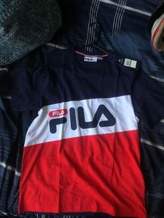 New Fila shirt for Sale in Inglewood, CA - OfferUp Tee Shirts, Tees, Free Money, Motorcycle Jacket, How To Make, Jackets, Outfits, Fashion, Moda Masculina