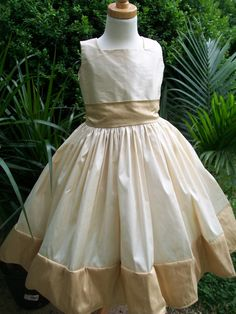 Silk Flower Girl Party Dress With Long Bow by mapletree2000, $80.00