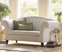 Olivia Eggshell Loveseat at Kirkland's Take A Seat, Love Seat, Home Living Room, Living Room Decor, Kirkland Home Decor, Loveseat Sofa, Couches, White Sofas, Living Room Seating