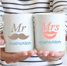 Mr and Mrs Masha Allah Mugs - HafsaCreates Islamic Art Pattern, Pattern Art, Islamic Events, White Coffee Mugs, Islamic Calligraphy, Craft Activities, Handicraft, Umrah Mubarak, Allah