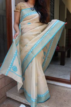 Lucknow chikan work on kota cotton saree