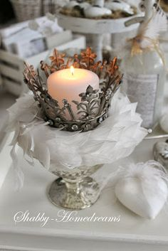 Shabby Homedreams I luv this style of crown ♡☆♡ Candels, Candle Lanterns, Chandeliers, Vintage Accessoires, Metal Crown, Candle In The Wind, Tiaras And Crowns, Winter Time, White Christmas