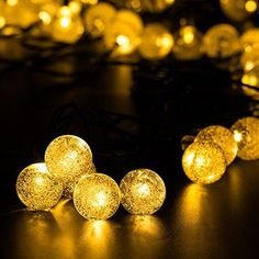 {Longer and Brighter 29ft 50LED} Hallomall™ Outdoor Solar String Lights Fairy Lights, Crystal Ball Solar Powered Outdoor Decorations Ambiance Lighting For for Garden Fence Path Landscape Christmas (warm white)  Unique extended 50 #LED makes the light more brighter and easily designs into more flexible needed shape for decoration or party...