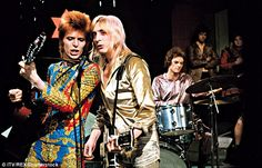 Mick Ronson and Woody Woodmansey (on drums) performing Starman on ITV in 1972