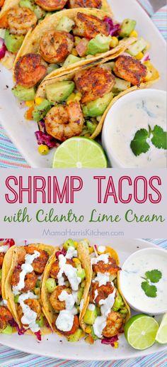 Shrimp Tacos with Cilantro Lime Cream - These are the ultimate taco for the seas. Shrimp Tacos with Cilantro Lime Cream - These are the ultimate taco for the seas. Shrimp Taco Seasoning, Shrimp Taco Sauce, Shrimp Taco Recipes, Fish Recipes, Mexican Food Recipes, Dinner Recipes, Spinach Recipes, Restaurant Recipes, Pork Recipes