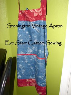STONINGTON Vintage Apron in Waverly Wedgewood by EveStarrFiberArts, SALE $39 Why on earth doesn't Waverly bring this fabric back?  So many people Google this one, just to find a spare yard or  two.  I got in 2005 when I taught a class at the Department of the Interior home decorating shop in Eugene, Oregon.  It jumped out at me, I grabbed 6 yards of red and two of blue, and have been miserly with it ever since! One more set of aprons is on its way out of the red: mid-century Laura Petrie style!