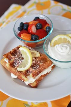 Lemon Buttermilk Waffles with Whipped Lemon Cream Cheese Topping I One ...