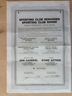Belgium, Sporting Club Renaisen, Titre d'une action, Sin valor, 1994