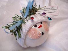 Snowman Ornament Christmas Tree Bulb Hand Painted Glass Snowball