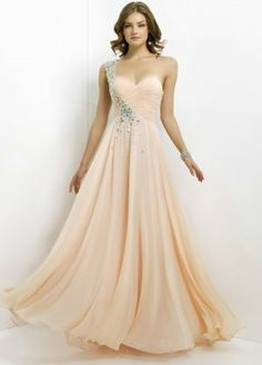 Long Beaded Blush 9760 Apricot One Shoulder Prom Dresses