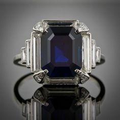 Diamond and sapphire art deco ring