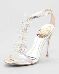 So pretty  X18MF Rene Caovilla Lace T-Strap Sandal