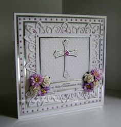 1st Holy Communion Card - I got a new Sue Wilson's designs die from Creative Expressions, New York Collection, Border, Corner and Tag and this is my first use... also using Spellbinders Crosses Two, Ribbon Banners and the Dainty Dots Embossing Folder. Flowers from Wild Orchid Crafts.