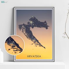 HRVATSKA map - Hrvatska SUNSET map - Croatia Sunset map - Travel poster - Wall decor - Office map - Hrvatska gift - GeoGIS studio Office Wall Decor, Wall Art Decor, New York City Map, Map Shop, Country Maps, Skyline Art, Custom Map, Metallic Colors, Watercolor Print