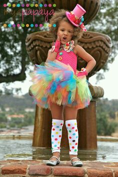 For the princess - use her tutu skirt and neon tights? Adorable girly clown costume for halloween