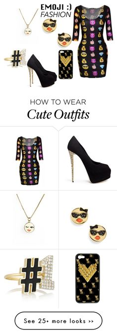"""Emoji Fashion Outfit (contest entry )"" by jelly12-861 on Polyvore featuring Alison Lou, Kate Spade, Giuseppe Zanotti, Wildflower, contest, jewelry and emoji"