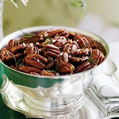 These roasted brown-butter pecans with rosemary are a great snack to keep out for race day.