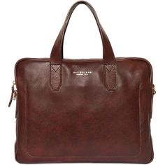 THE BRIDGE Hand-Painted Leather Briefcase ($436) ❤ liked on Polyvore featuring bags, briefcases and brown
