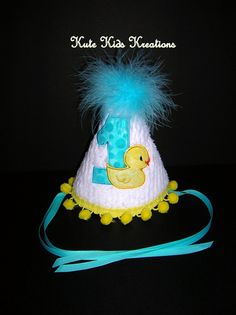 Baby's FIRST BIRTHDAY Hat Rubber Duck by kutekidskreations on Etsy, $22.00