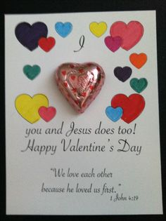 I made this valentine for my Sunday school class to do this week.  Took 5 minutes to create in Pages. Some hearts that I left blank for the students to color in and the text and Bible verse.  I used double-sided sticky scrapbooking  mounting circles to attach the chocolate candy heart. I printed 4 on a page of white card stock. Its an easy craft for them to do.
