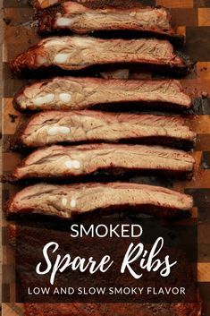 Smoked Spare Ribs are a staple on BBQ restaurant menus because they are flavorful, juicy, and simple to prep. This recipe keeps things easy for the backyard with a classic dry rub seasoning blend and Traeger Recipes, Smoked Meat Recipes, Rib Recipes, Game Recipes, Chef Recipes, Grilling Recipes, Recipies, Smoked Spare Ribs Recipe, Smoked Pork Ribs