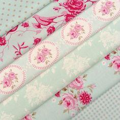 Tilda Flower garden, duck egg aqua pink fabric value selection bundle x 6   eBay