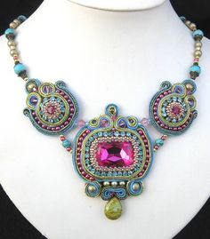 Turquoise and Pink Soutache necklace, Cielo design