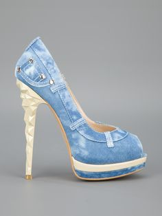 Women's Fashion High Heels : Blue Denim Shoes from Heeled Boots, Shoe Boots, Shoes Heels, Pretty Shoes, Beautiful Shoes, Crazy Shoes, Me Too Shoes, Denim Shoes, Platform High Heels
