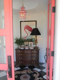 Salmon Pink French Entry Doors | Flamingo | Pink and White Chevron Light Fixture | Black & White Flooring