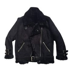 BLACK SHEARLING JACKET ❤ liked on Polyvore featuring outerwear, jackets and shearling jacket