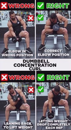 Get that enviable biceps bulge with the ultimate strength and muscle building move: dumbbell concentration curls. This basic bicep concentration curl exercises the brachialis muscle. The bicep concentration curl involves slowly and smoothly lifting a dumb Gym Workout Tips, Fitness Workouts, Gym Tips, Weight Training Workouts, Fitness Motivation, Workout Routines, Crossfit Ab Workout, Workout Men, Build Muscle Mass