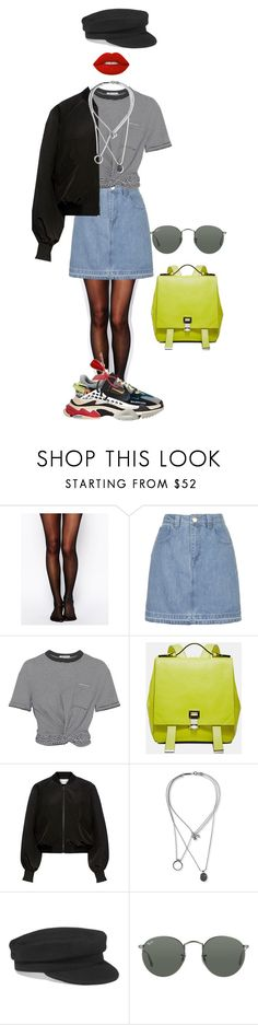 """""""Senza titolo #2879"""" by monsteryay ❤ liked on Polyvore featuring Wolford, Topshop, T By Alexander Wang, Proenza Schouler, Alexis, Maison Margiela, Étoile Isabel Marant, Ray-Ban and Lime Crime"""