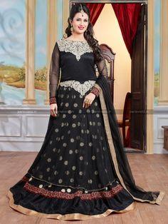 Black Georgette Net Glorious Anarkali Salwar Kameez