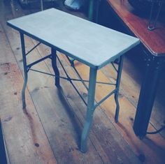 Small Industrial Folding Table - Made by Brewer Titchener Corp. Courtland NY ~ #industrial #table #metal #foldingtable #home  *JoJo's Place www.jojosplace.com