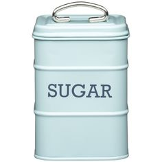 Living Nostalgia Sugar Canister Blue ($12) ❤ liked on Polyvore featuring home, kitchen & dining, food storage containers, kitchen, fillers, decor, food, tin food storage containers, coffee canister and tea cannister