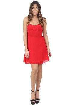 Red Fit and Flare Chiffon Dress