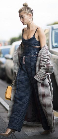 Hailey Baldwin in Coat – Isabel Marant  Shirt and skirt – Victoria Beckham Collection  Jewelry – Jennifer Fisher  Purse – Mugler  Shoes – Jimmy Choo