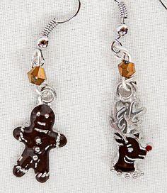 Christmas earrings, Christmas jewelry, Christmas, gingerbread man charm, reindeer charm, charm earrings, charm jewelry, Xmas earrings, Xmas