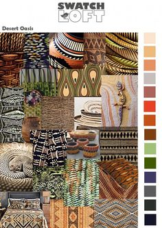 Desert Oasis is a trend that encompasses a loosely based tribal theme including woven ethnic textures and embroidered patterning with Aztec influences.