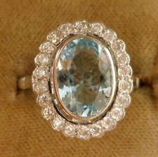 FABULOUS 3.5CT AQUAMARINE & 1.20CT OLD CUT DIAMOND 18CT CLUSTER RING