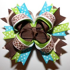 MINI M2M Mud Pie Wild Child Giraffe Print Stacked Hair Bow Blue Green Brown