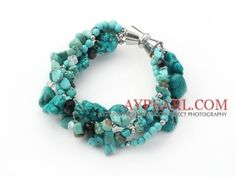 Multi strand assorted multi shape turquoise and crystak bracelet by brandee gardiner
