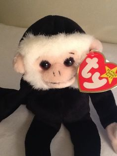 1998 TY Beanie Baby Plush Stuffed Animal Mooch Spider Monkey Black Retired  9
