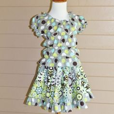 Peasant Top and Twirl Skirt in Gray Lime and Aqua by vivyscloset, $38.00