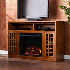 Media Console Fireplace TV Stand Adjustable Shelves Glazed Pine Tempered Glass #HarperBlvd #Fireplace #TvStand #Furniture #LivingRoom