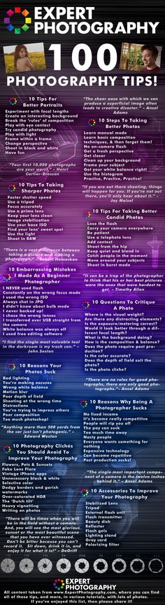 100 Photography Tips  Infographic