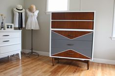 white, gray + wood mid-century modern vintage painted highboy dresser_blue.lamb furnishings