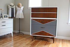 white, gray + wood mid-century modern vintage painted highboy dresser_blue.lamb furnishings